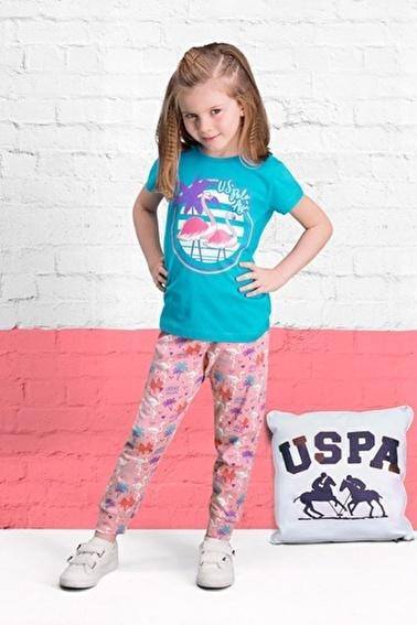 U.S. Polo Assn. U.S. Polo Assn Lisanslı Yavruağzı Kız Çocuk Pijama Takımı Mavi